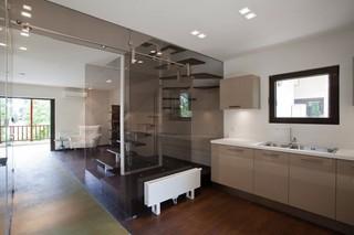 现代简约风格复式舒适艺术玻璃背景墙设计图纸