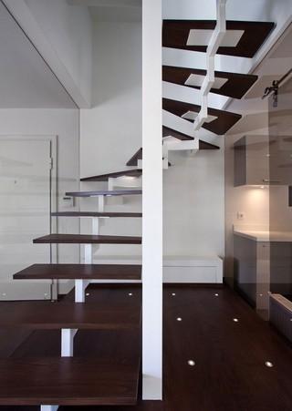 现代简约风格复式舒适艺术玻璃背景墙设计