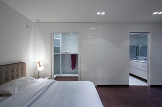 现代简约风格复式舒适艺术玻璃背景墙设计图