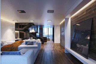 现代简约风格公寓温馨客厅电视背景墙装修图片