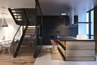 现代简约风格公寓温馨黑色铁艺楼梯吧台椅图片