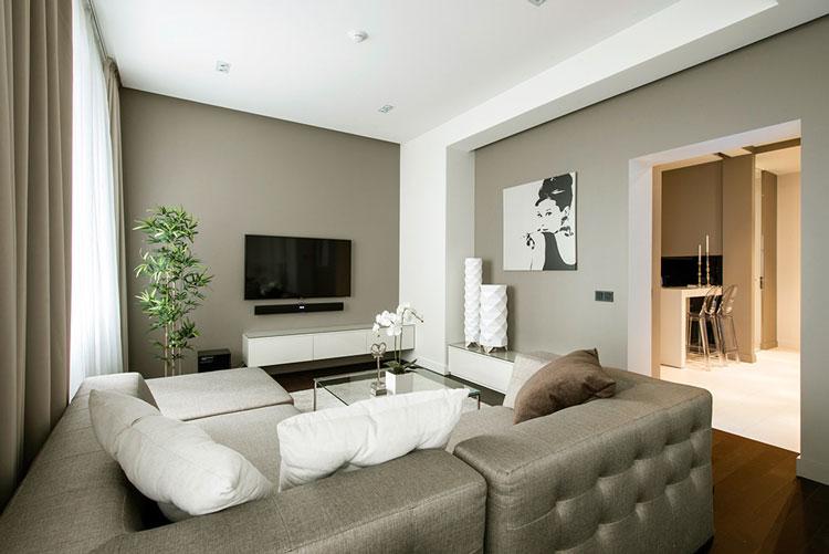 现代简约风格艺术白色60平米电视背景墙设计图纸
