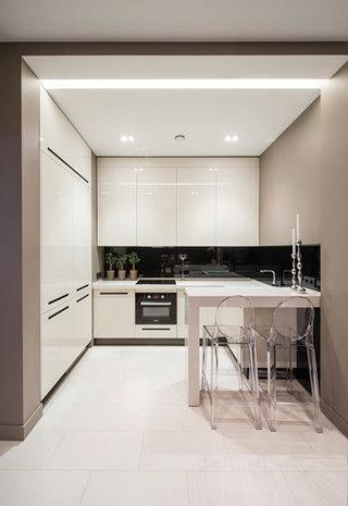 现代简约风格艺术白色60平米整体厨房设计图纸