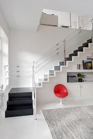 欧式田园风格复式白色阁楼楼梯壁炉效果图