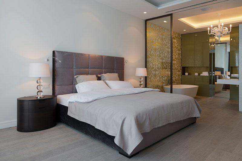 现代简约风格冷色调卧室灯光效果图