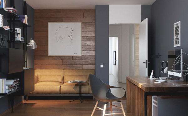 黑白,现代简约风格,阁楼,原木色