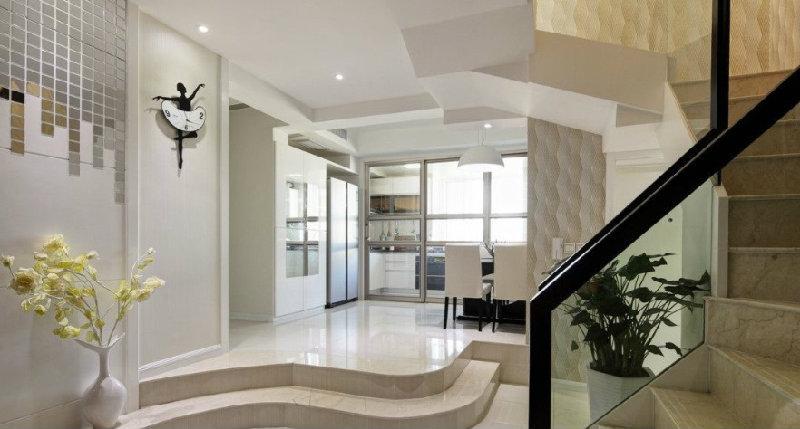 现代简约风格厨房小复式120平米三室两厅两卫装修效果图图片