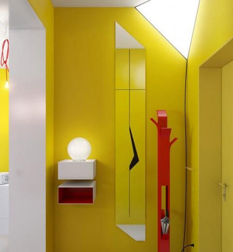 45平小户型红与黄搭配