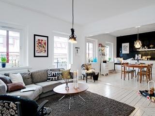 黑白色调的经典运用 77平米艺术范公寓