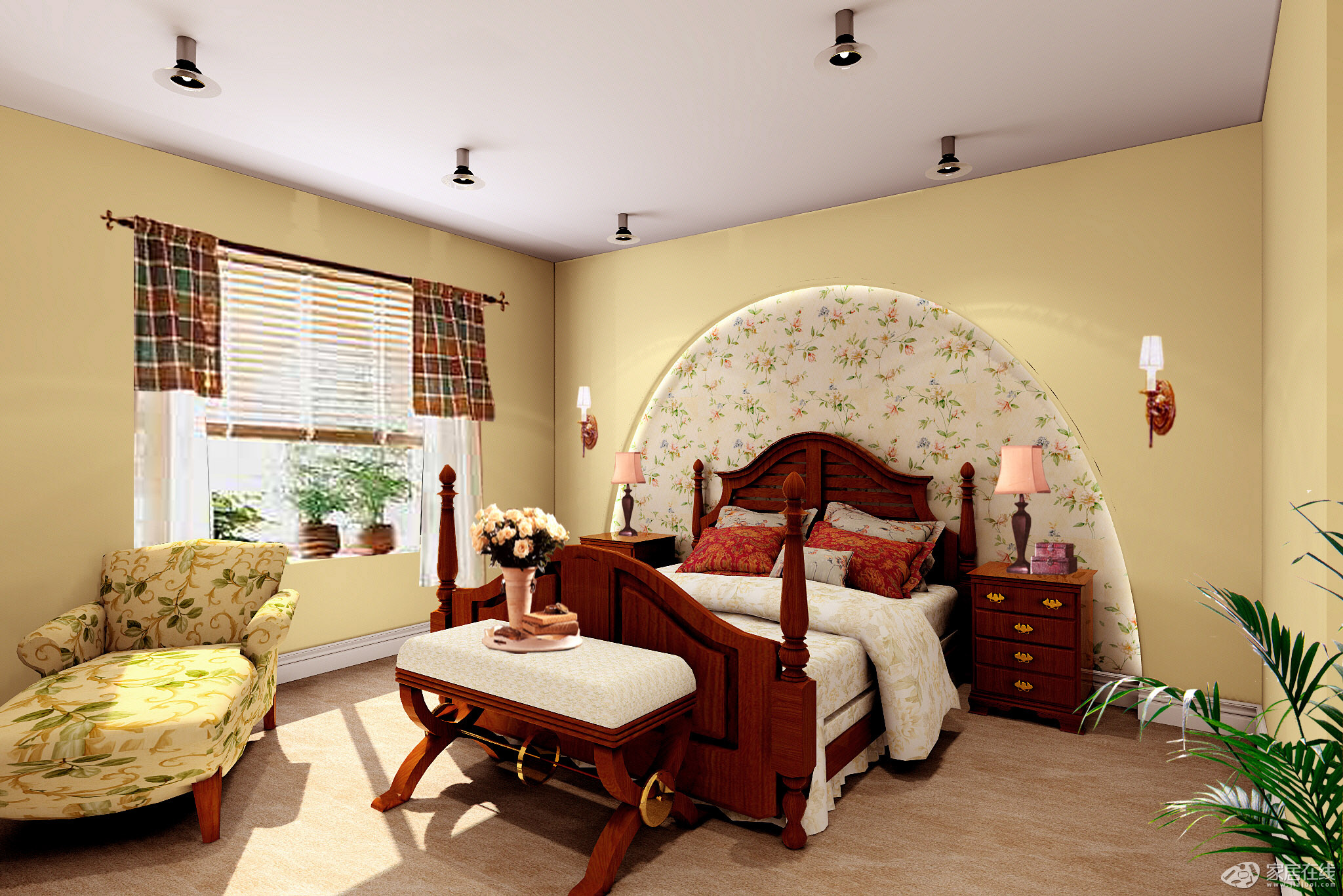 地中海风格小清新8平米卧室装修效果图图片