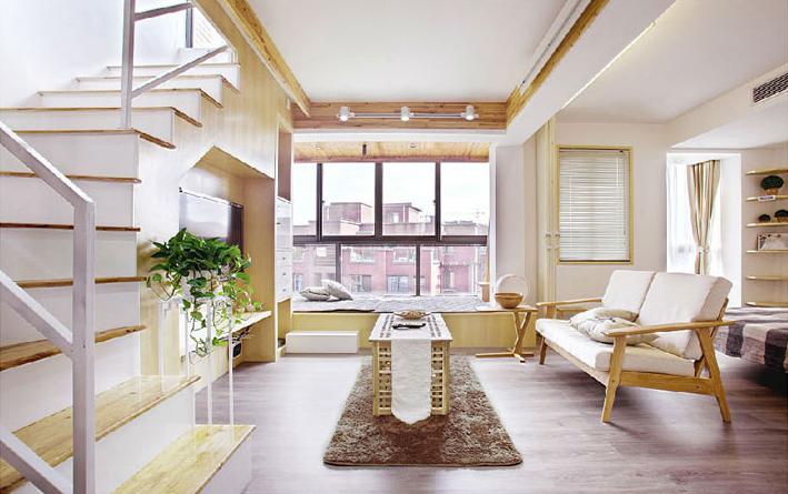 70平米原木風小戶型 精致樓頂花園設計
