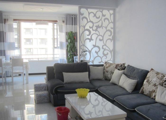 简约风格电视背景墙86平米两室一厅90平米装修效果布艺沙...