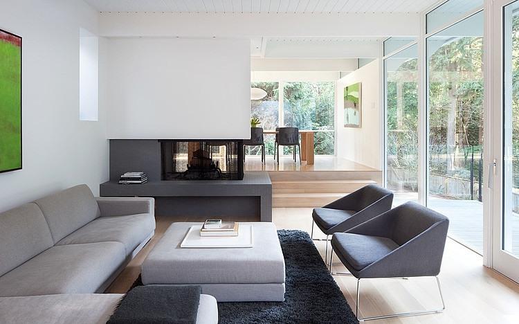 北欧风格客厅单身公寓设计图实用客厅灰色窗帘厨房与客厅隔断装修效果图片