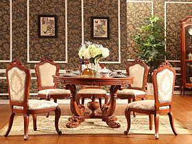 高端大氣歐式實木餐桌演繹新古典主義