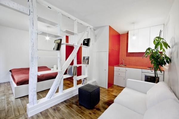 现代简约风格一居室稳重红色客厅隔断设计