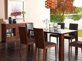 清新古朴实木餐桌,餐厅里的自然风