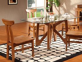 深浅胡桃色餐桌椅 演绎别样简约风格
