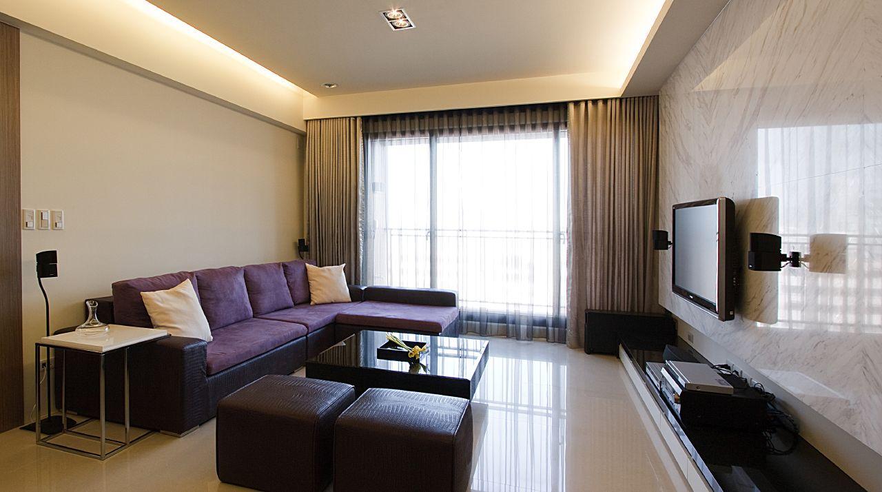 简约客厅 大理石铺装电视背景墙