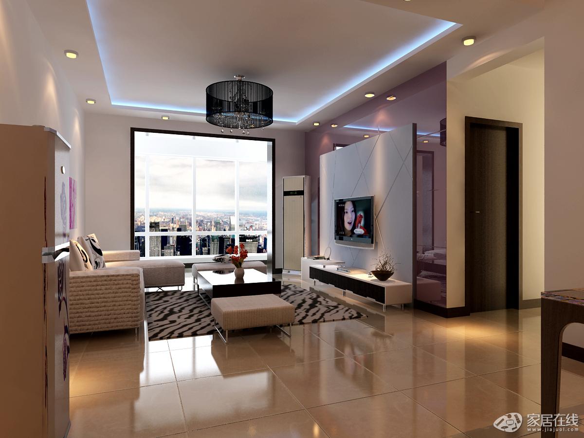 现代简约风格大气暖色调16平米客厅装修效果图