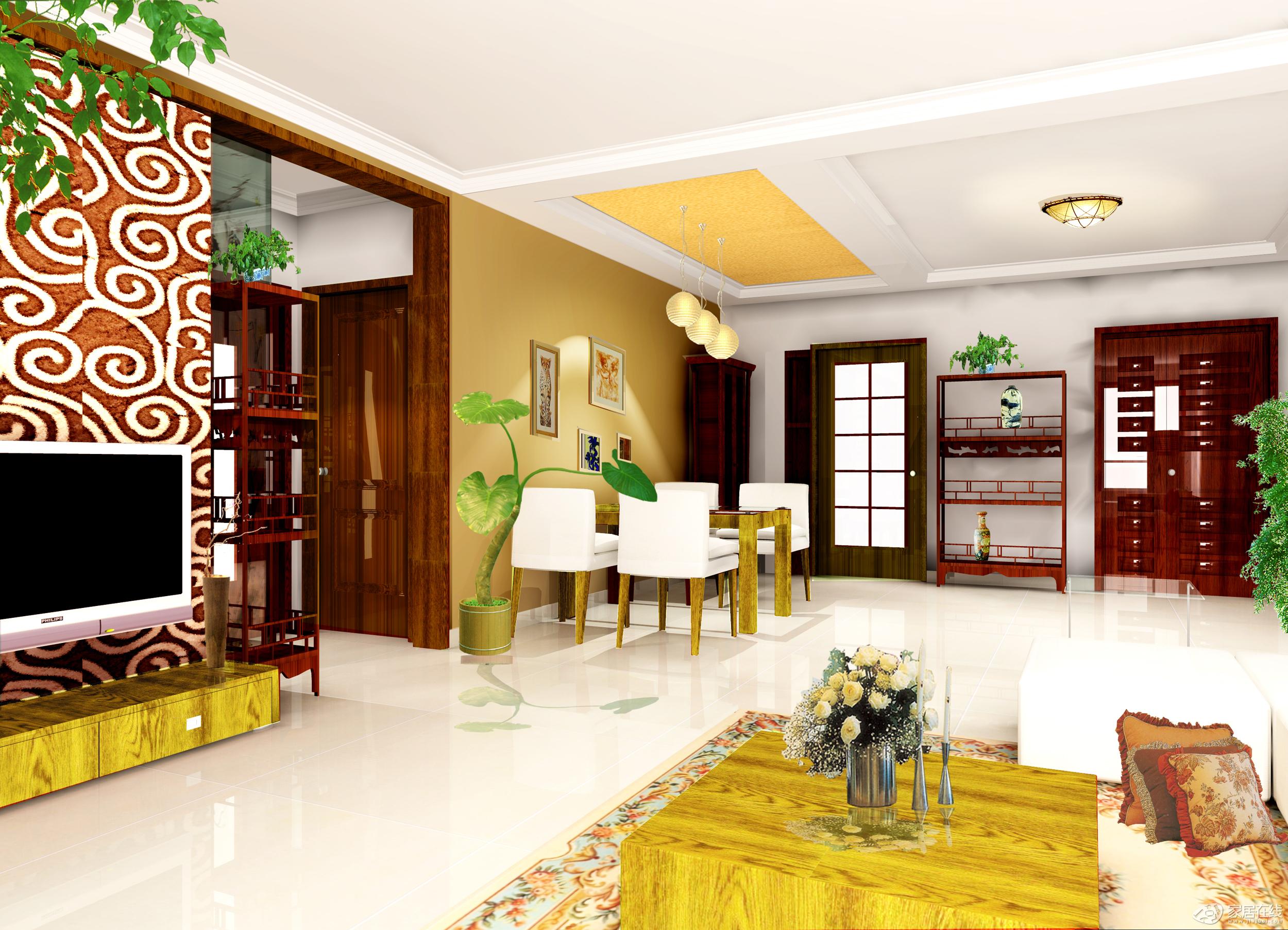 古典中式客厅效果图  小公寓装修效果图房间欧式风格效果图古典中式