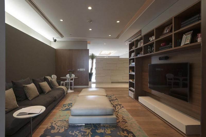 欧式风格公寓大气灰色电视背景墙布艺沙发效果图