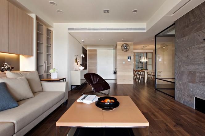 滑動玻璃墻組成的現代風格公寓