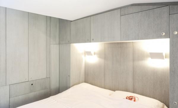 现代简约风格单身公寓灰色卧室灯效果图
