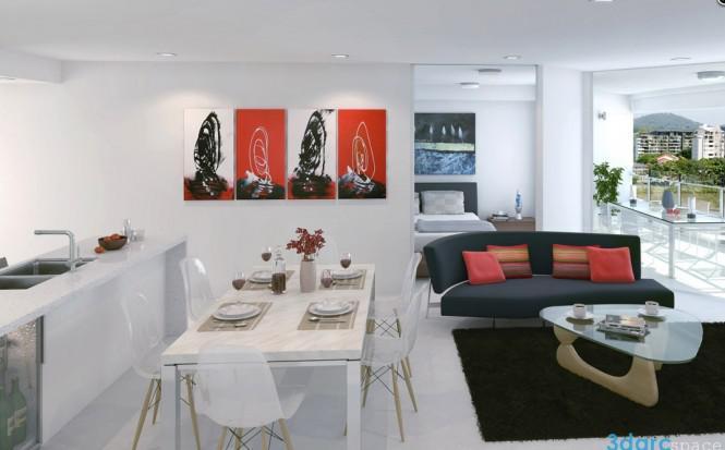 现代简约风格白色整体厨房效果图
