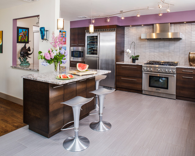 浪漫色调的温馨厨房 开放式厨房