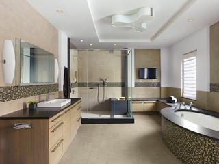 混搭风格三层独栋别墅阳台实用整体淋浴房设计