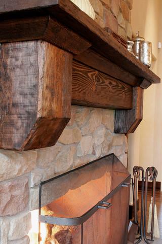 现代简约风格厨房一层半小别墅时尚衣柜砖砌真火壁炉设计图图片