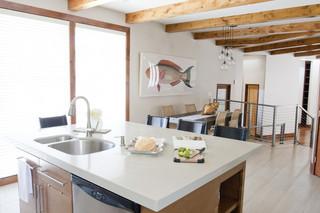现代简约风格卧室一层半别墅实用客厅吧台隔断装修效果图