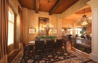 现代简约风格餐厅三层别墅及舒适红木餐桌图片
