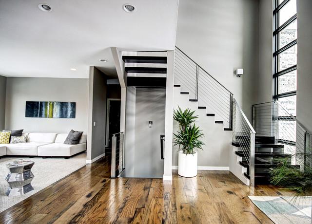 现代简约风格卧室一层别墅舒适客厅跃层楼梯设计图纸