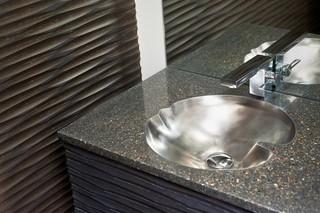 现代简约风格厨房三层双拼别墅简单实用一体式台盆图片