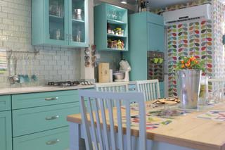 美式风格复式吊顶简单实用厨房和餐厅装修效果图