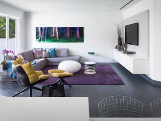 简洁的装修 紫色地毯的浪漫