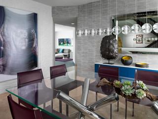 现代简约风格三居室浪漫婚房布置中式餐厅装修效果图