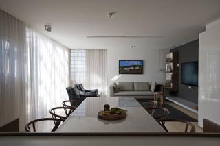 现代简约风格客厅一层别墅简约时尚中式餐桌效果图