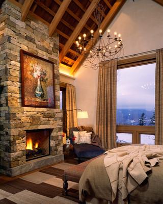 新古典风格客厅三层独栋别墅舒适壁炉图片
