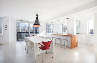 现代简约风格餐厅酒店式公寓实用客厅中式餐桌效果图