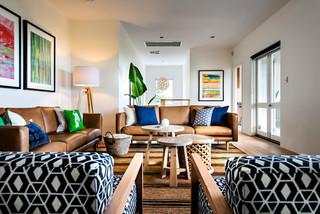 现代简约风格三层连体别墅乐活名牌布艺沙发图片