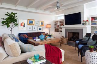 现代简约风格客厅2层别墅舒适砖砌真火壁炉设计图效果图