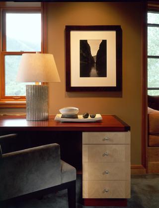 现代简约风格客厅300平别墅阳台实用转角书桌书柜效果图