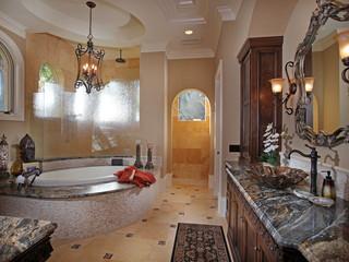 地中海风格室内三层别墅及舒适品牌按摩浴缸效果图