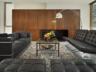现代简约风格一层半别墅现代奢华懒人沙发效果图