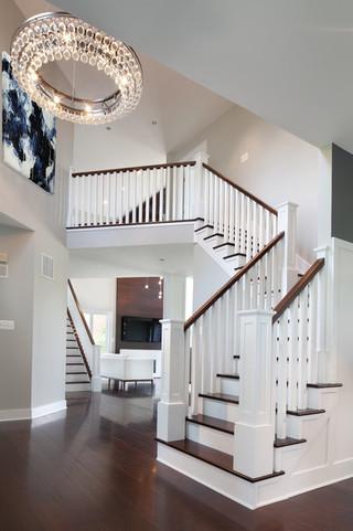 现代简约风格卧室三层半别墅简洁卧室住宅楼梯设计图装修图片