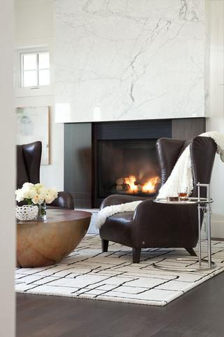 现代简约风格卫生间三层双拼别墅乐活砖砌真火壁炉设计图效果图