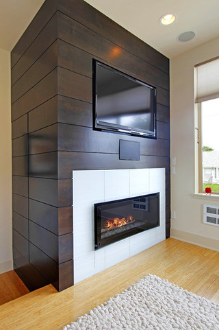 欧式风格客厅三层别墅及舒适砖砌真火壁炉设计图图片