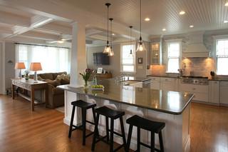 现代简约风格餐厅大方简洁客厅开放式厨房吧台效果图